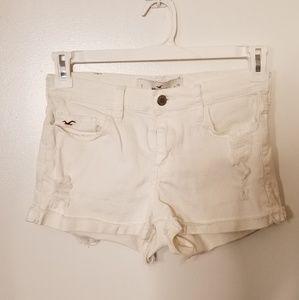Hollister Distressed White Denim Shorts